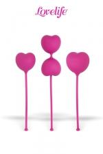 Coffret  3 boules de Kegel Flex : Lot de 3 boules de Kegel en silicone pour exercer les muscles du vagin et du plancher pelvien.