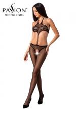 Combinaison résille BS080 - Noir : Combinaison ouverte effet ensemble de lingerie et string de la marque Passion.