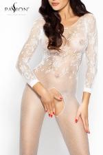 Combinaison Romantic Passion : Combinaison sexy à manches longues en résille brodée, un écrin qui offre l'essentiel de votre beauté.