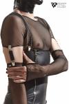 Gants longs en maille noire avec bretelles - Regnes