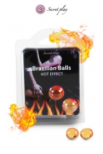 2 Brazillian balls effet chaleur  : La chaleur du corps transforme la brazilian ball en liquide glissant à effet chaud, votre imagination s'en trouve exacerbée.