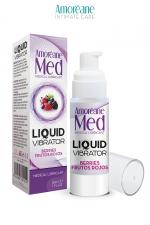 Lubrifiant Liquid Vibrator Baies Rouges 30ml - Amoreane Med : Gel lubrifiant médical à base d'eau avec effet vibrant, parfumé aux baies rouges, par Amoréane Med.