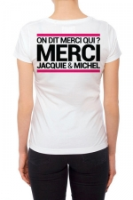 Tee-shirt  J&M blanc - spécial  femme : JM pensent aussi (et surtout) aux femmes avec un tee-shirt spécifique mettant mieux en valeur leurs charmes.
