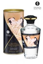 Huile chauffante - Vanille fétiche : Huile aphrodisiaque comestible et chauffante, saveur Vanille fétiche, activée par la chaleur de la peau ou les baisers, by Shunga.