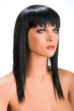 Perruque Allison brune : Perruque brune longue et à frange effilée pour changer de look.
