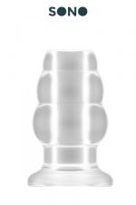 Plug anal creux taille S - SONO : Petit plug anal translucide, creux au milieu, 7,7 cm de long par 4,3 cm de diamètre maxi.