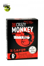 3 Préservatifs Crazy Monkey X-Large : 3 préservatifs taille XL, couleur rouge, avec saveur de fraise, pour les gros calibres par Crazy Monkey.