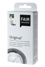 10 préservatifs Fair Squared Original : 10 préservatifs Vegan transparents, surface lisse, en latex de caoutchouc naturel, issus du commerce équitable.