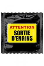 Préservatif humour - Attention Sortie D'engins : Préservatif Attention Sortie D'engins, un préservatif personnalisé humoristique de qualité, fabriqué en France, marque Callvin.
