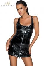 Robe courte zippée en vinyle F232 : Robe courte en vinyle brillant, fendue devant d'un double zip intégral.