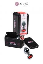 Plug aluminium L Rouge : Plug anal en métal d'une longueur de 10 cm et un diamètre de 3,5 cm décoré d'un strass rouge.