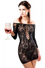 Robe Fetish Dinner résille Noir : Robe en résille extensible dentelle florale, sexy et provocante.